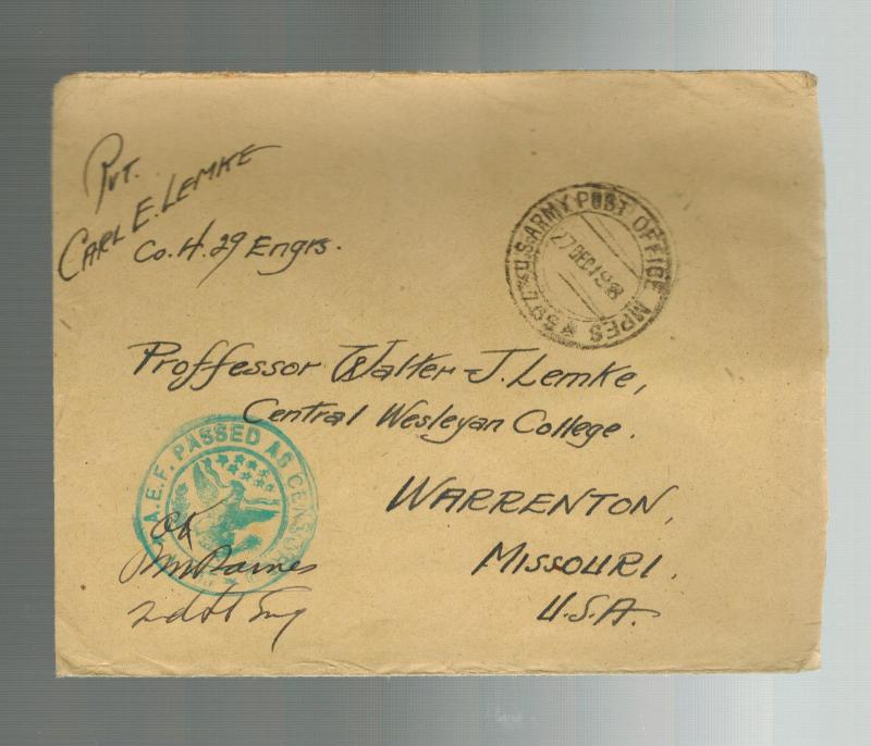 1919 WW 1 USA AEF American Expeditionary Force France Cover to Wesleyan COllege