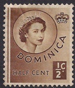 Dominica 1954 – 62 QE2 1/2ct Brown Unused SG 140 ( F941 )