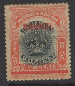 BRUNEI SG13 1906 2c on 8c BLACK & VERMILION MTD MINT TONING