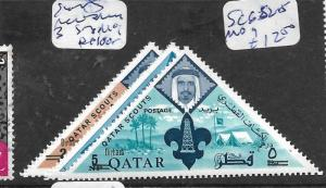QATAR (P1102B) SCOUTS REVALUED 3 TRIANGLE STAMPS MOG
