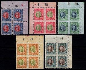 China 1947 Dr. Sun Yat-sen & Plum Blossoms, Marginal Plate Blocks [Mint]