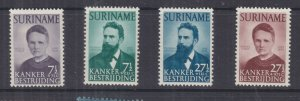 SURINAME, 1950 Cancer Research set of 4, lhm.