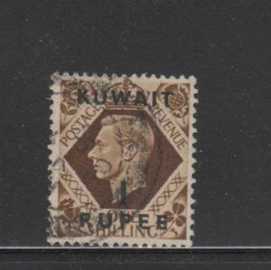 KUWAIT #79  1948  1r on 1sh   KING GEORGE VI SURCHARGED   F-VF  USED  d