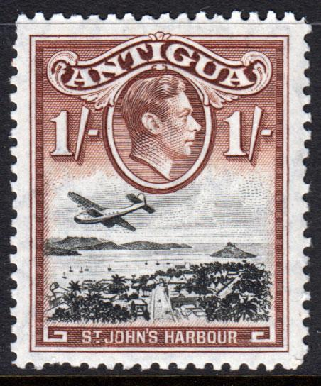 Antigua KGVI 1938 1/- 1s Black Red-Brown SG105a Mint Lightly Hinged