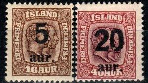 Iceland #131, 135 F-VF Unused CV $17.50 (X9658)