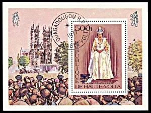 Upper Volta 438, CTO, 25th Anniversary Reign of Queen Elizabeth souvenir sheet
