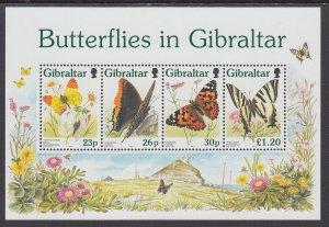 Gibraltar 731a Butterflies Souvenir Sheet MNH VF