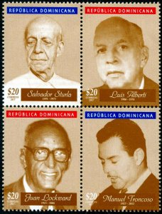 HERRICKSTAMP NEW ISSUES DOMINICAN REPUBLIC Composers Block of 4 Diff.
