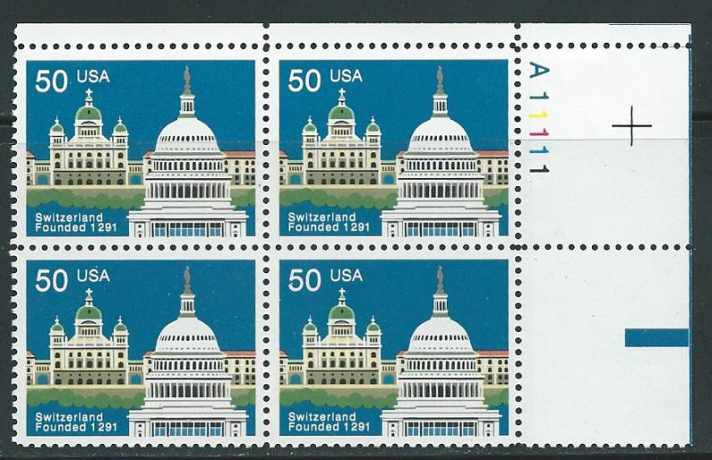 US#3532   $0.50 Switzerland  Plate Block of 4 (MNH) CV $5.00