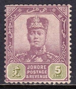 Malaya (Johore) - Scott #80 - MH - Clipped perfs at top - SCV $8.50