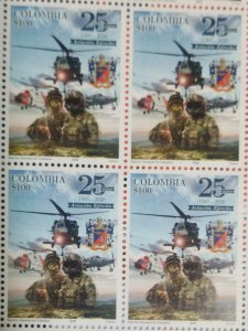 A) 2020, COLOMBIA, AVIATION ARMY, 25 YEARS, NATIONAL ARMY, MINISHEET OF 4
