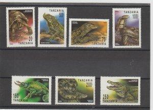 Tanzania  Scott#  1128-1134  MH  (1993 Reptiles)