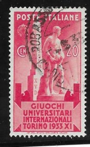Italy # 307  University Games Turin   1933  (1)  Used