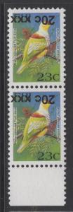 FIJI SGF1362a 2008 20c on 23c BIRDS TYPE IIIh SURCHARGE INVERTED MNH PAIR