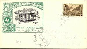 1946 Chicago, Ill. Street Car R.P.O. Railway Post Office + Cachet #137