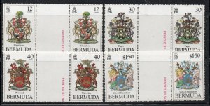Bermuda Sc 474-77 1985 Coats of Arms stamp set gutter pair mint NH