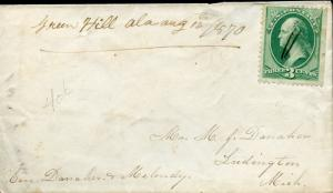 US GREEN HILL, AL 8/12/1870 MANUSCRIPT CANCEL TO LUDINGTON, MI 3C RATE W/CONTENT