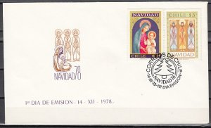 Chile, Scott cat. 530-531. Religious Christmas issue. First Day Cover. ^