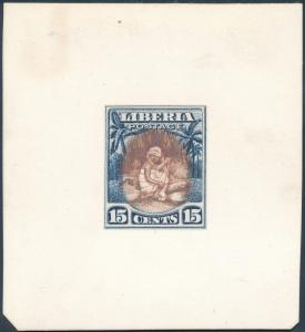 LIBERIA #119 PLATE PROOF ON INDIA MOUNTED ON CARD WOMAN SPINNING COTTON HV3744