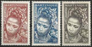 Martinique # 217-19  Martinique Woman  (3) VF Unused