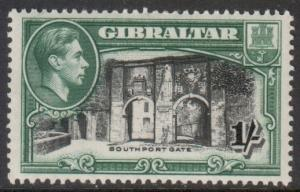 Gibraltar Scott 114b - SG127a, 1938 1/- Perf 13.1/2 MH*