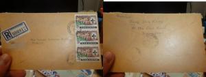Sarawak 1977 Registered Cover Simanggang, 3 x 20c Flowers (43beh)