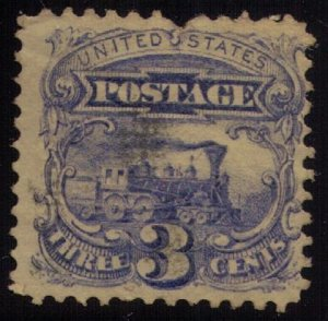 US Sc #114 Used Locomotive 3c Ultra Perf Fault Top Centre F-VF