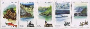 Canada Mint VF-NH #1489a Heritage Rivers strip/5