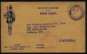 CANADA 1944 Military postcard ex FPO 585 - thanks for cigarettes.......18901