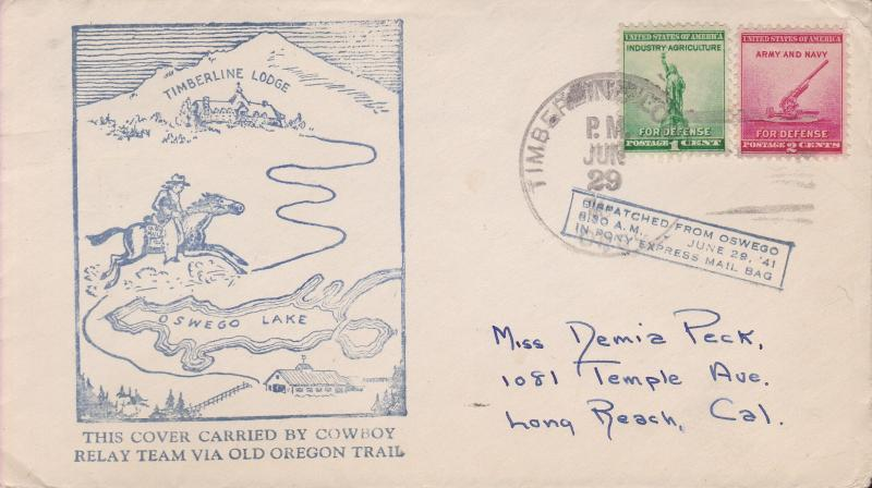 Cowboy Relay Team Pony Express Oswego Old Oregon Trail Route 1941. Nice Cachet