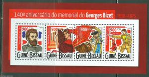 GUINEA BISSAU 2015 140th MEMORIAL  ANNIVERSARY OF GEORGES BIZET SHEET  MINT NH