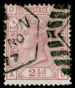 SG141, 2½d rosy mauve PLATE 9, USED. Cat £60. AD