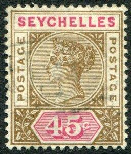 SEYCHELLES-1893 45c Brown & Carmine Sg 25 GOOD USED V48929