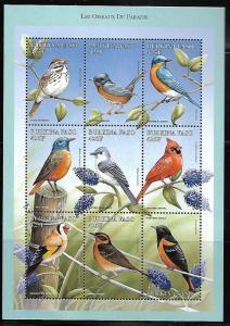 BURKINA FASO  1105  MNH BIRDS SHEET OF 9 STAMPS, 1998