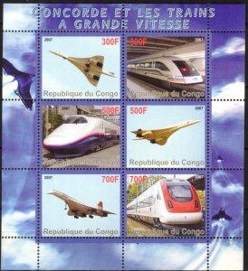 Congo 2007 Aviation Concorde Trains MNH Cinderella !