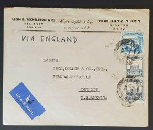 1945 Tel Aviv Palestine to Detroit Leon Tschelebon Co Advertising Airmail Cover