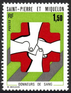 St Pierre & Miquelon 434, MNH.Honoring blood donors.Clasped Hands,Red Cross,1974