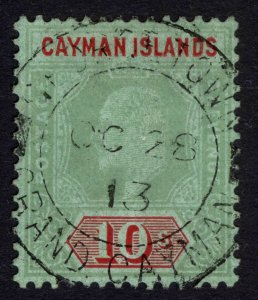 Cayman Is 1908 10s Green & Red on green SG 34 Scott 30 VFU Cat £250($337)