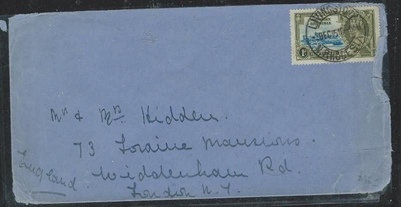 NORTHERN RHODESIA (P0604B) KGV 1D SILVER JUBILEE SINGLE FRANK TO ENGLAND