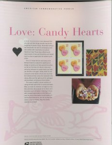 USPS COMMEMORATIVE PANEL #701 LOVE: CANDY HEARTS  #3833