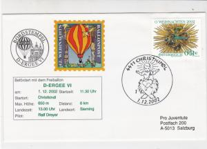 Austria 2002 Christ in Manger Christmas Slogan Balloon Post Stamps CoverRef28080