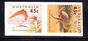 Australia  Sc 1348-9 1993 Dinosaur self ad stamp set mint NH