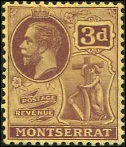 Montserrat SC# 65 KGV 3d wmk 4  Toned Gum