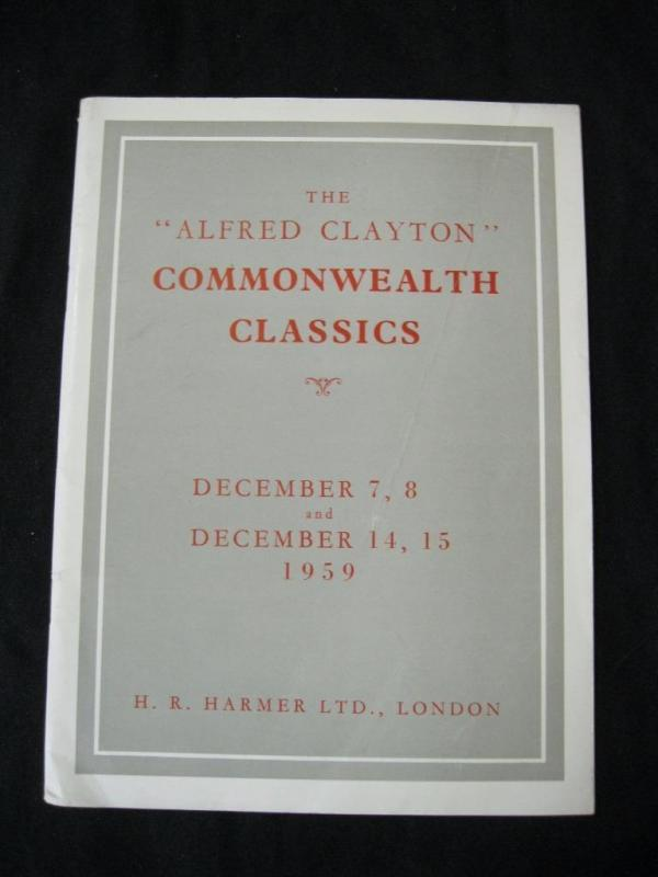 H R HARMER AUCTION CATALOGUE 1959 COMMONWEALTH CLASSICS 'CLAYTON' COLLECTION