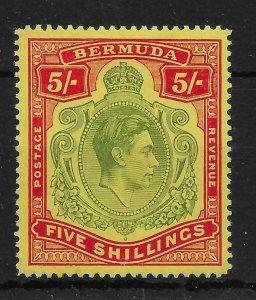 BERMUDA SG118bf 1942 5/= DULL YELLOW-GREEN & RED ON YELLOW GASH IN CHIN MTD MINT