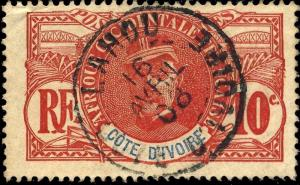 CÔTE-D'IVOIRE - 1908 - CAD LAHOU SUR 10c FAIDHERBE