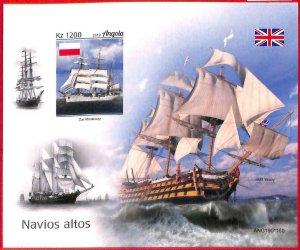 A1563 - ANGOLA - ERROR: IMPERF SOUVENIR SHEET - 2019 Ships  Boats  RUSSIA flags