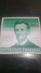 Rwanda Scott #92 MNH 1965 Abraham Lincoln Death Centenary Stamp 10c green