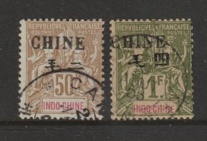 French PO.s in China a used 50c & 1Fr from 1902
