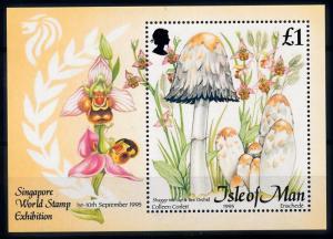 [68927] Isle of Man 1995 Mushrooms Pilze Champignons Orchids Souvenir Sheet MNH